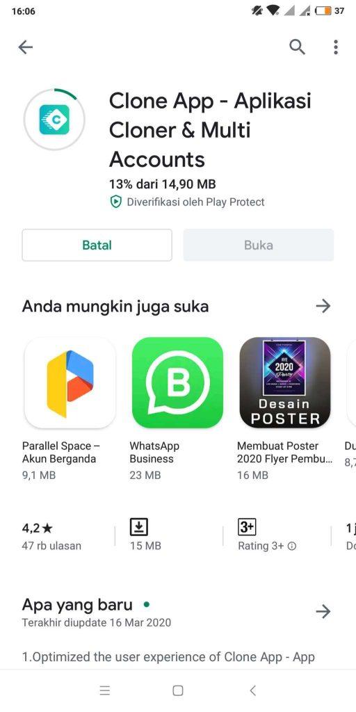 cara menggandakan aplikasi