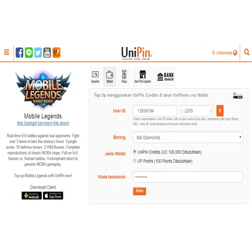 cara top up diamond di unipin