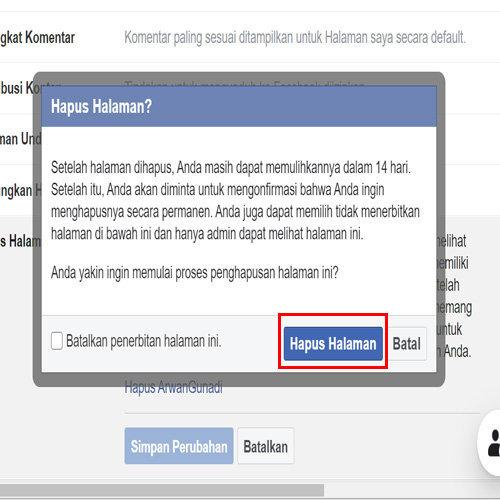 cara menghapus halaman facebook di laptop