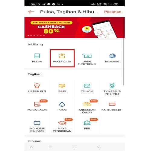 cara membeli paket data di Shopee