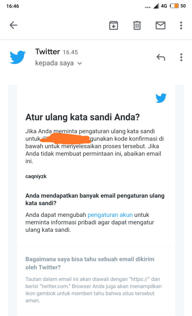 lupa sandi twitter