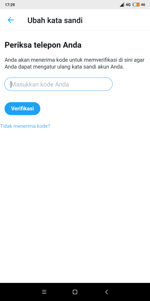 cara memulihkan sandi twitter