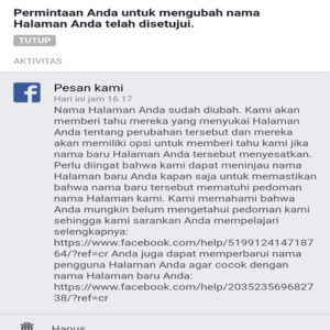 cara mengubah nama halaman facebook