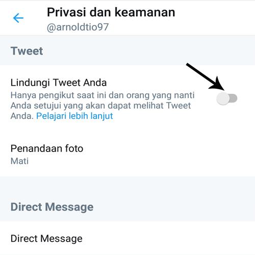 cara mengaktifkan private akun twitter lewat hp