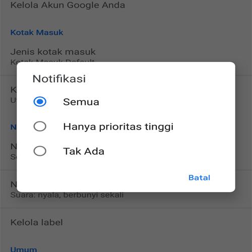 Cara Mengaktifkan Dan Menonaktifkan Notifikasi Gmail