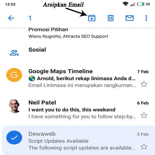cara melihat email yang diarsipkan di gmail